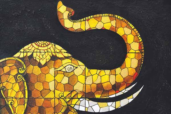 Mixed media Art of Elephant Spirit